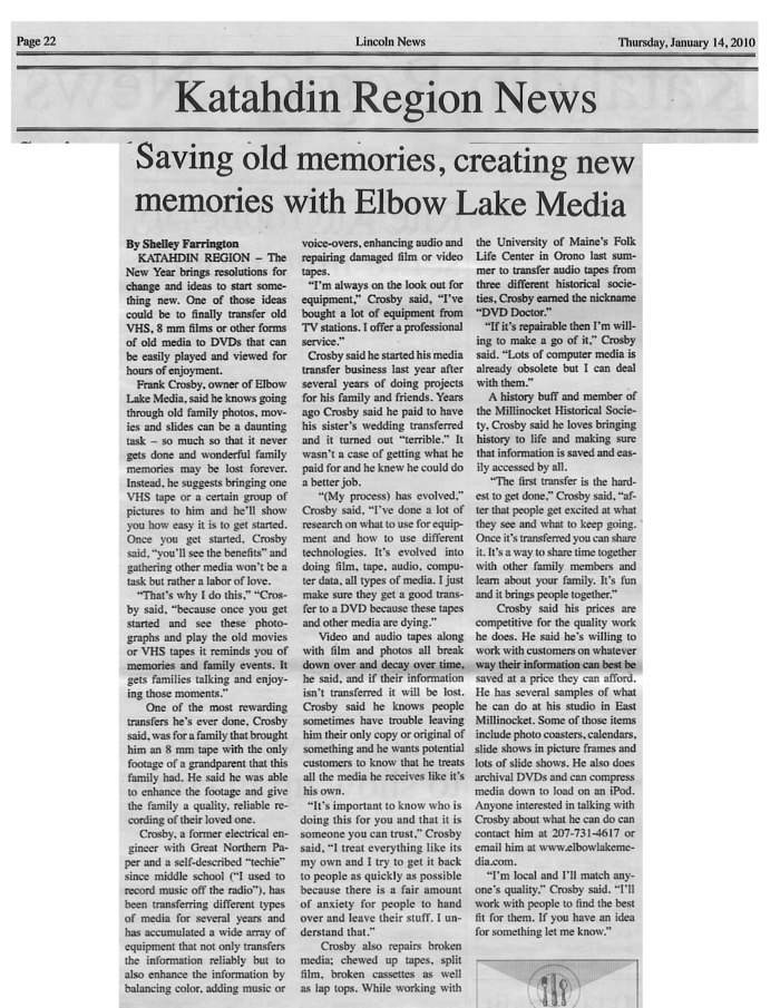Article about Elbow Lake Media from Lincoln News Published January 14, 2010